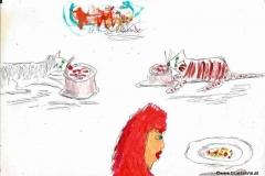 Maurice muss Diät essen, Charlie frisst äußerst skeptisch sein Futter und ich esse meine Rindsuppe270413