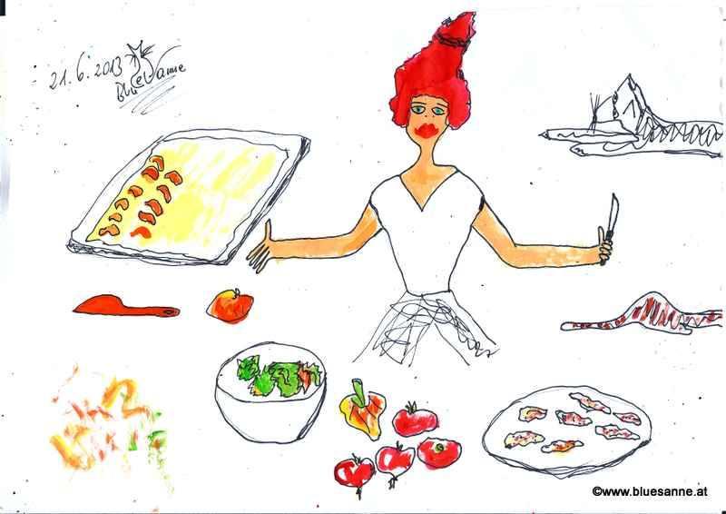 Marillenkuchen, Sommersalat mit selbstgebackenen Minihühnerschnitzel210613