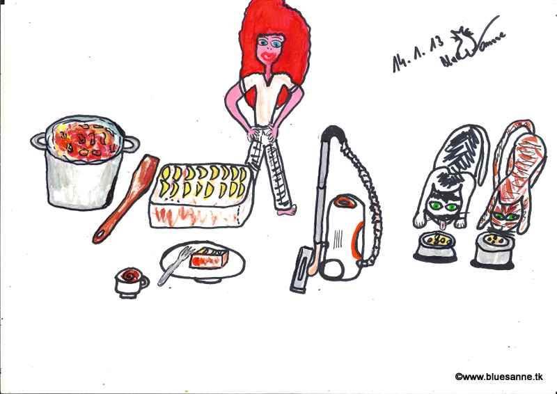 fleißig war ich schon heute(Erdäpfelsuppe gekocht, Apfelkuchen gebacken, staubsaugen, Katern füttern, Kaffee kochen140113