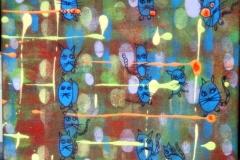 Kugelkatzen26.08.201330 x 24 cmAcryl + Marker auf Leinwand