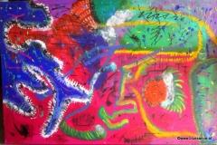 Zirkus13.10.2011150 x 100 cmAcryl + Gouache auf Leinwand