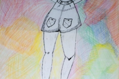 ShortGirl00.00.200156 x 42 cmBuntstift + Tusche auf Papier