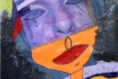 Wer?20.08.201342 x 29 cmAcryl + Foto + Lipgloss  auf Papier