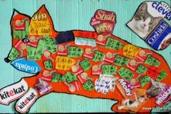 Katzefrisstkackt13.05.202059 x 37 cmAcryl - Collage auf Wellpappe