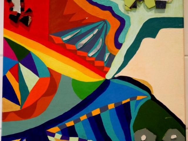 Ewige Baustelle18.07.201250 x 50 cmAcryl + Fliesen + Glas auf Leinwand