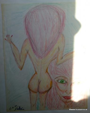 FrontBacky 23.12.2001 56 x 42 cm Buntstift auf Papier