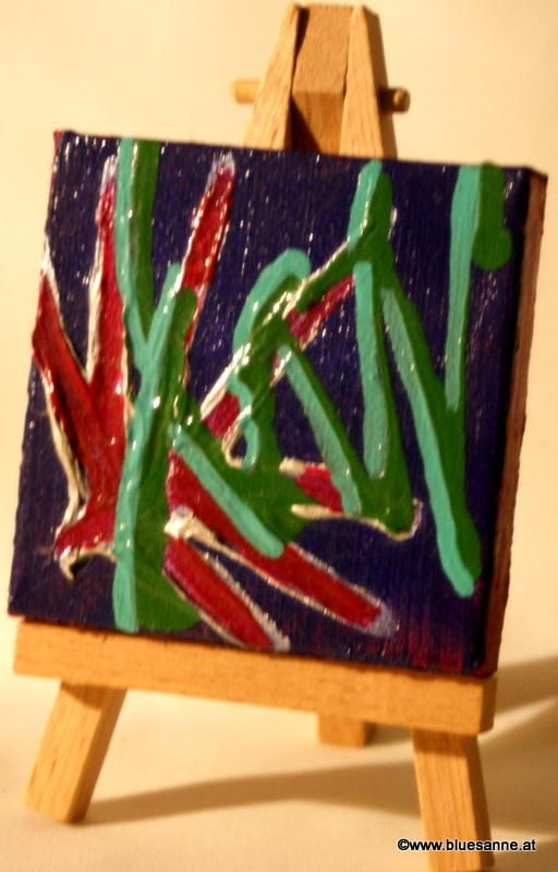 JungleGroove00.10.20117 x 7 cmAcryl + Abtönfarbe + Varnish auf Leinwand +  Staffel