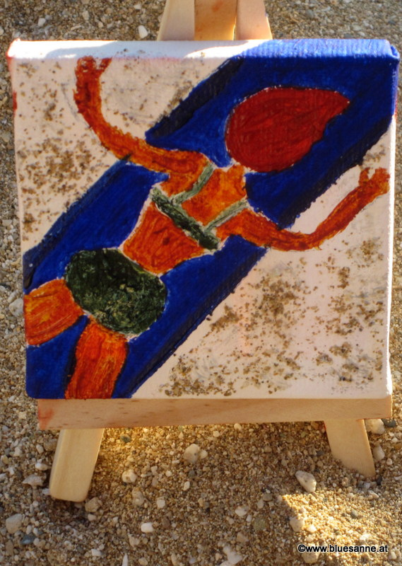 Lady on the Beach	11.11.2015	7 x 7 cm	Acryl + Sand auf Leinwand + Staffel