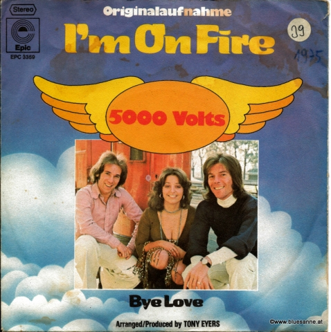 5000 Volts Im on fire 1975 Single
