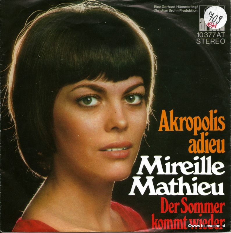 Mireille Mathieu ‎– Akropolis Adieu 1971 Single